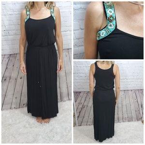 Jessica Simpson black mint beaded maxi dress